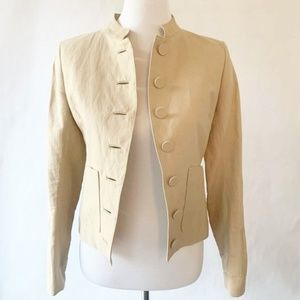 Theory Womens Seion Military Jacket Beige Linen 2